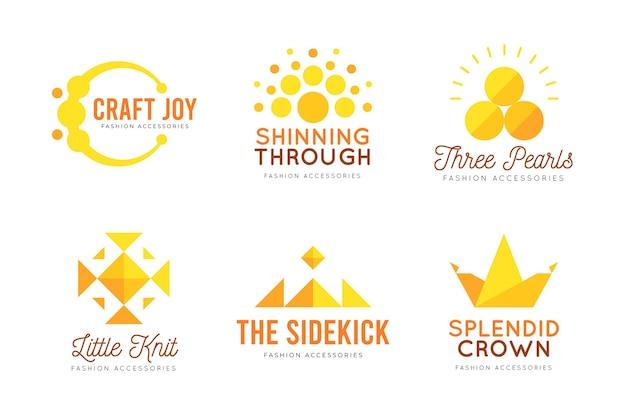 Коллекция логотипов плоских модных аксессуаров Бесплатные векторы
