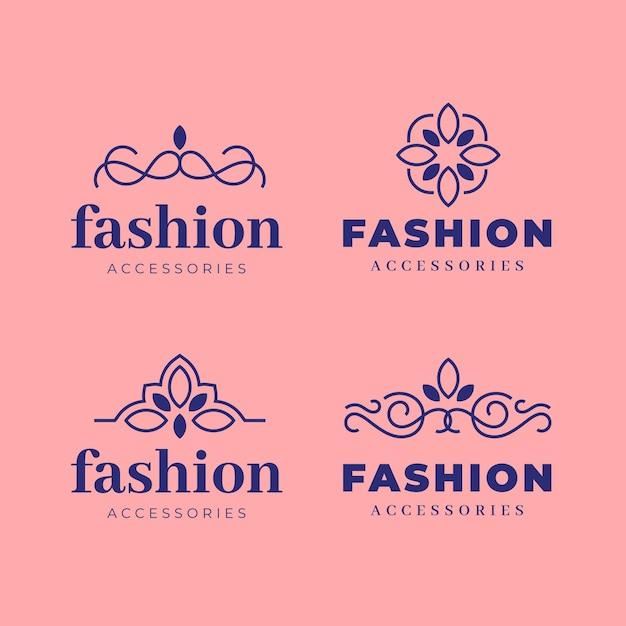 Коллекция логотипов плоских модных аксессуаров Premium векторы
