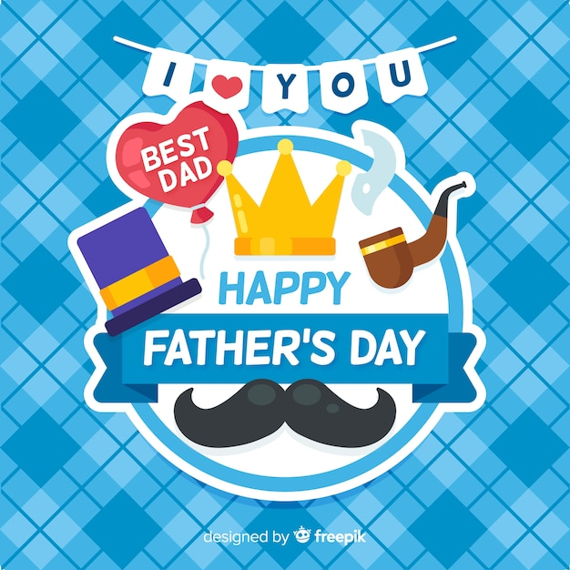 Flat father's day background Free Vector