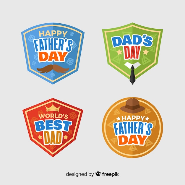 Flat father's day badge collection Free Vector