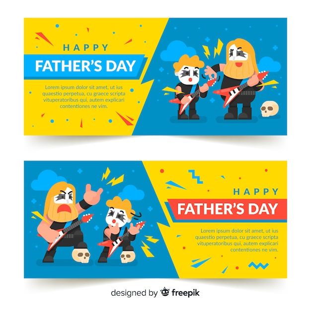 Flat father's day banners Free Vector