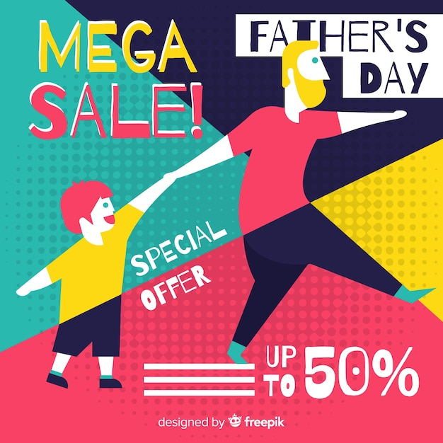 Flat father's day sale background Free Vector