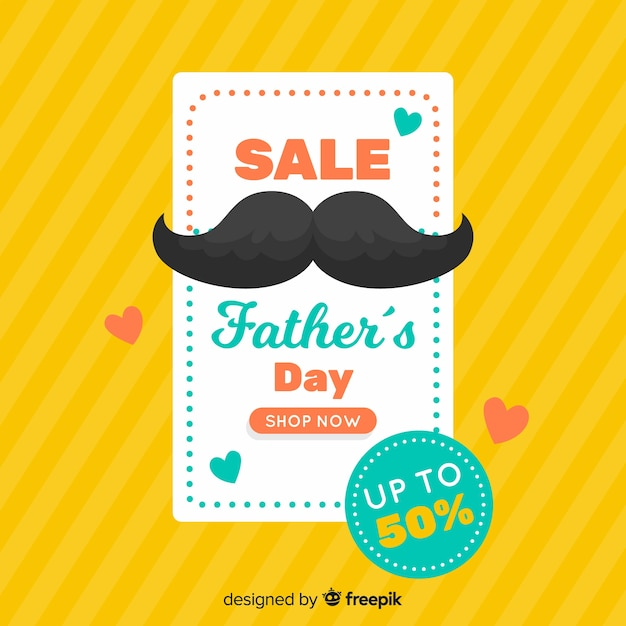 Flat father's day sales background Free Vector