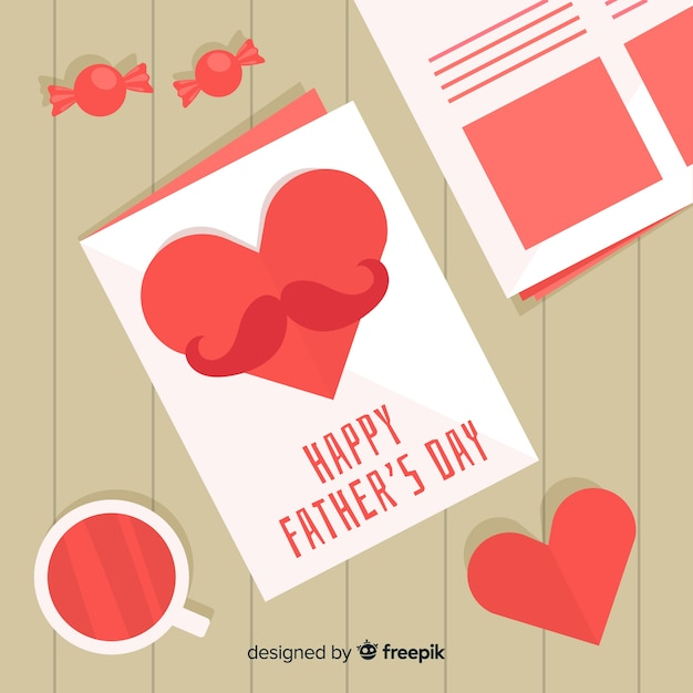 Flat fathers day background Free Vector