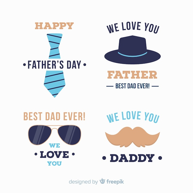 Flat fathers day badge collection Free Vector