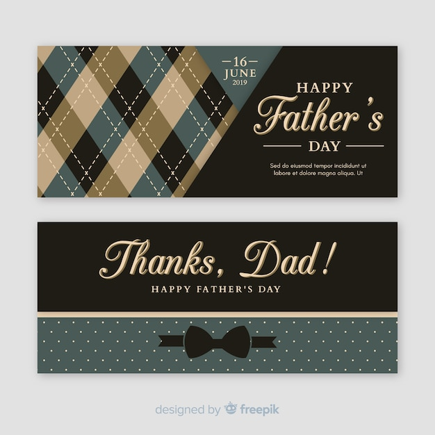 Flat fathers day banners Free Vector