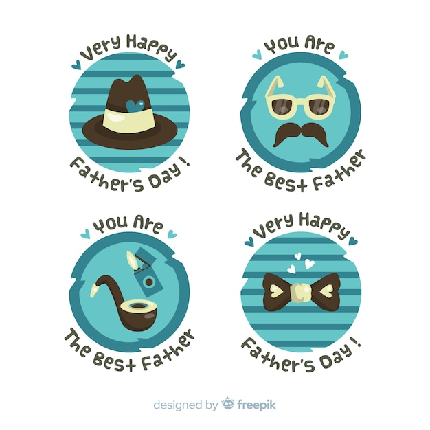 Flat fathers day label collection Free Vector