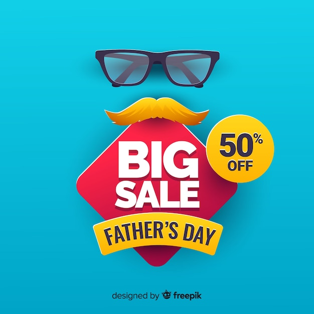 Flat fathers day sale background Free Vector