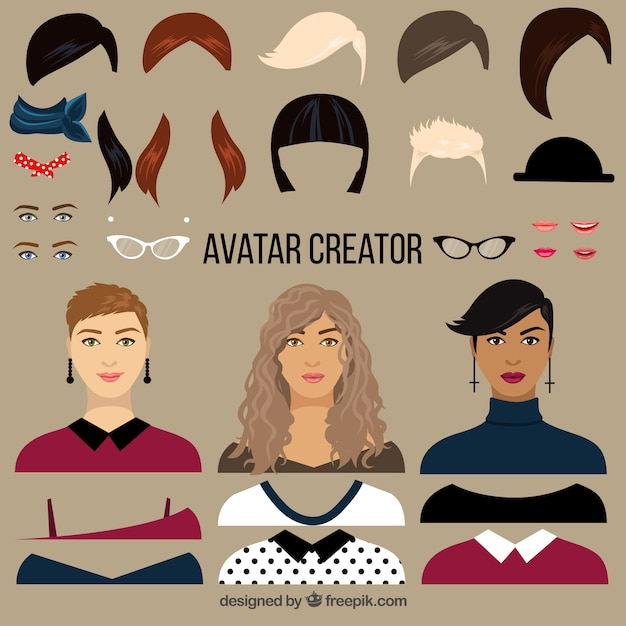 Flat Female Avatar Creator Vector Premium Download