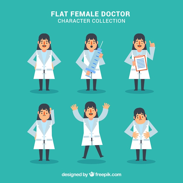 Flat female doctor character collection