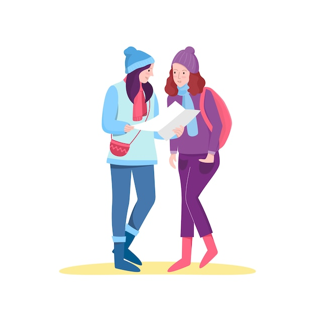Flat female tourists planning a trip. Premium Vector