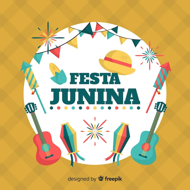 Flat festa junina background Free Vector