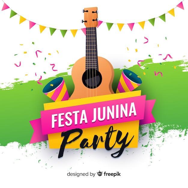 Flat festa junina background Free Vector