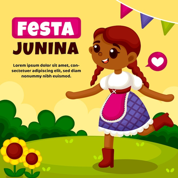Flat festa junina event background Free Vector
