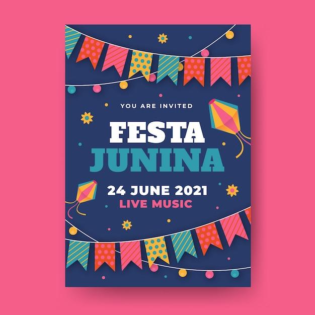 Flat festa junina flyer template Free Vector