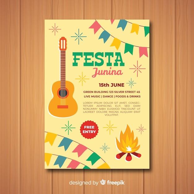 Flat festa junina poster template Free Vector