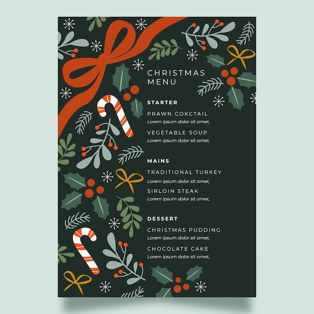 フラットお祝いクリスマスレストランメニューテンプレート 無料ベクター