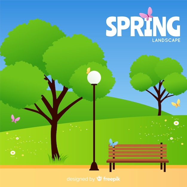 Flat field spring background Free Vector