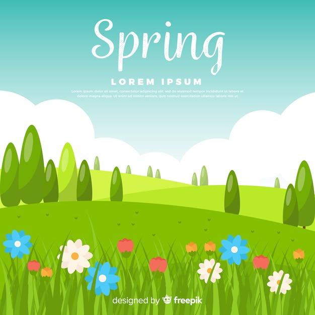 Flat field spring background Premium Vector