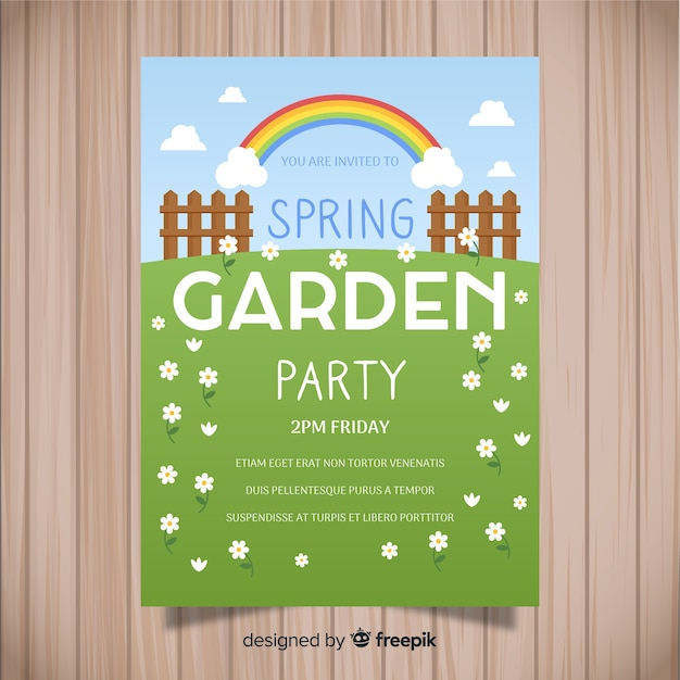 Flat field spring party poster Free Vector