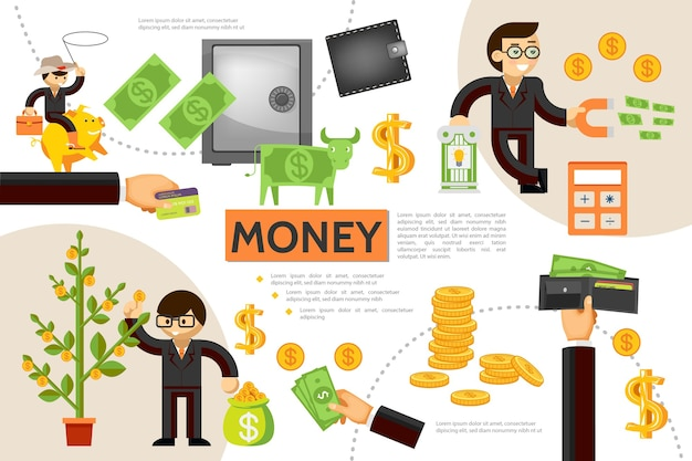 Flat finance infographic concept with money tree gold coins wallet safe business people dollar cow payment card Free Vector
