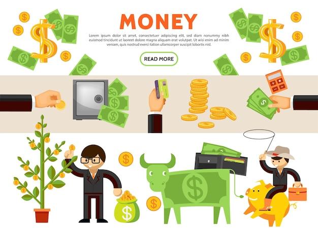 Плоские финансовые иконки коллекция с денежным деревом корова наличные монеты безопасный кошелек бизнесмен ковбой, сидя на копилке Бесплатные векторы
