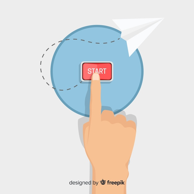 Flat finger pressing red start button Free Vector