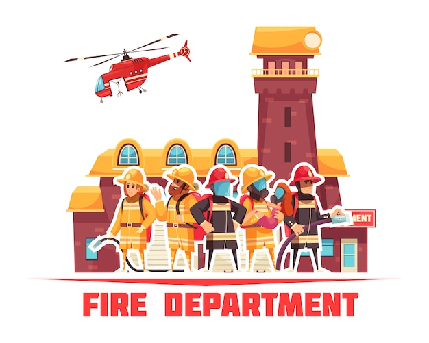 Flat fire department background Free Vector