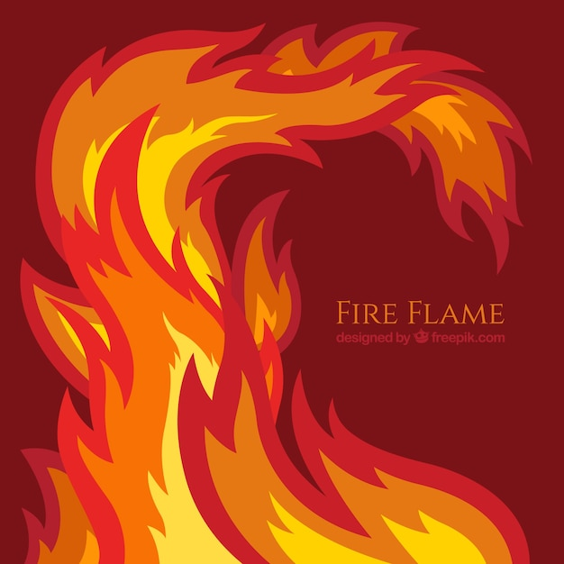 Flat fire flame background Free Vector