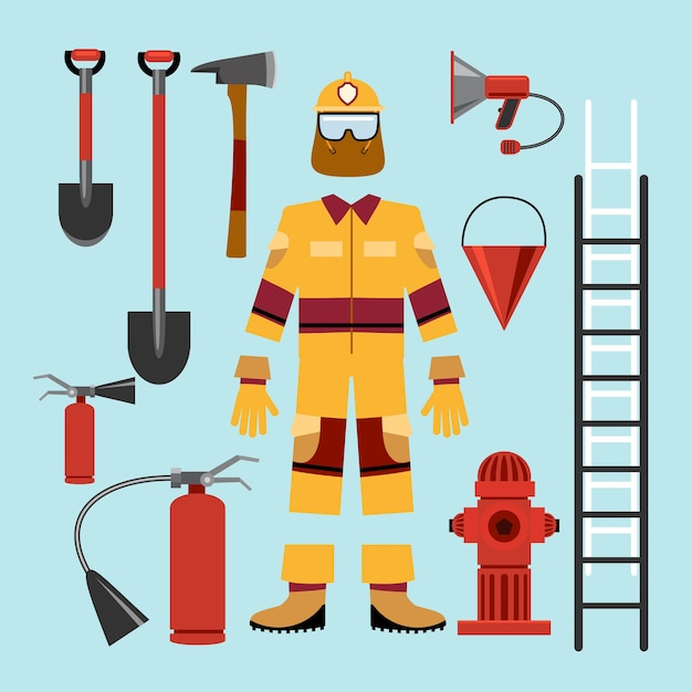 Flat firefighter uniform and tools equipment. extinguisher and hazmat and gloves, retardant and loudspeaker. Free Vector