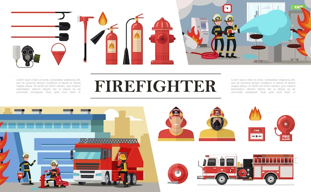 Flat firefighting elements composition with rescue brigades shovels gas mask fire hose hydrant extinguishers bucket firemen truck alarm bell Free Vector