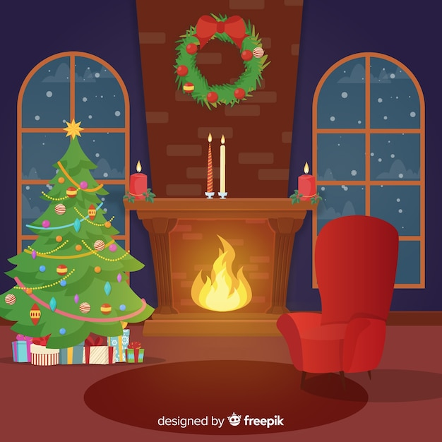 Flat fireplace christmas scene Free Vector