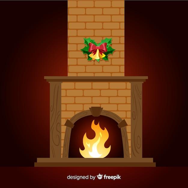 Flat fireplace scene Free Vector