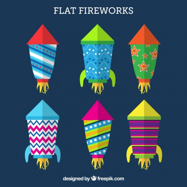 Flat fireworks pack Free Vector