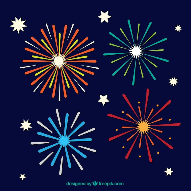 flat fireworks pack vector free download