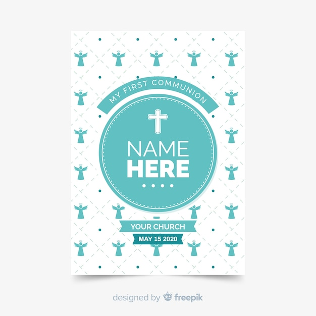 Flat first communion invitation template Free Vector