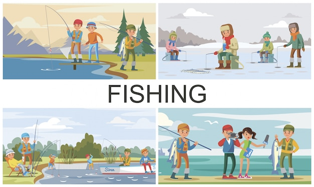 Flat fishing hobby composition with summer and winter fishing and reporter interview fisher who caught big fish Free Vector