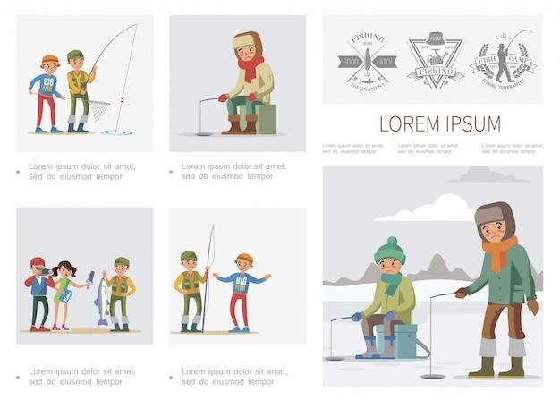 Плоский инфографический шаблон для рыбалки с летними и зимними рыбаками Бесплатные векторы