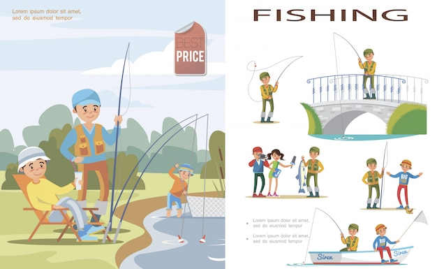 Flat fishing template with people catch fish in lake using fishing rod and fishnet and fishers in different situations Free Vector