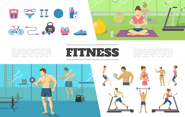 Flat fitness elements collection with man and woman doing physical exercises in gym scale sportswear ball dumbbells bottle bicycle weight Free Vector
