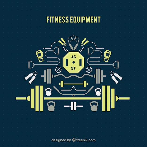 Flat fitness equipment Premium Vector