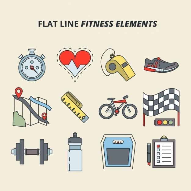 Flat fitness line elements