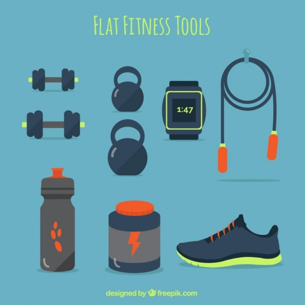Плоские инструменты фитнес в синий цвет Бесплатные векторы