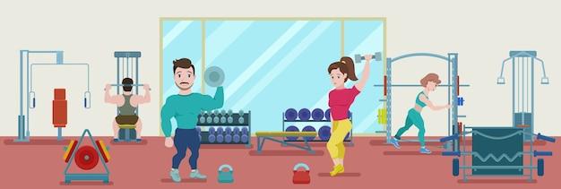 Плоский фитнес-тренировочный баннер с бодибилдерами и спортсменами, занимающимися физическими упражнениями в тренажерном зале Бесплатные векторы