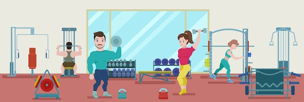 Flat fitness training banner with bodybuilders and athletes doing physical workout in gym Free Vector