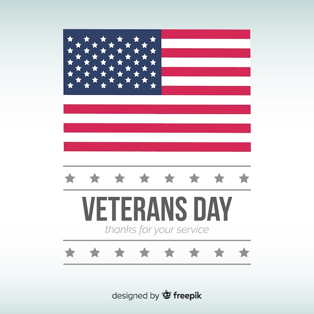 Flat flag veteran's day background Free Vector