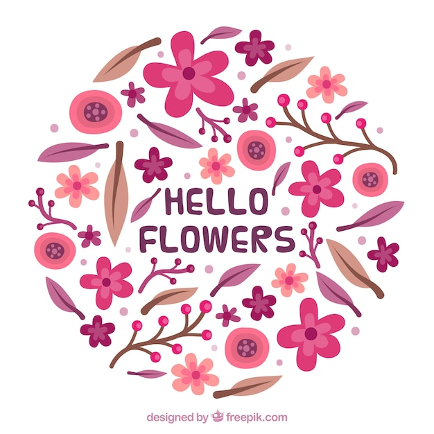 Flat floral background with cute style