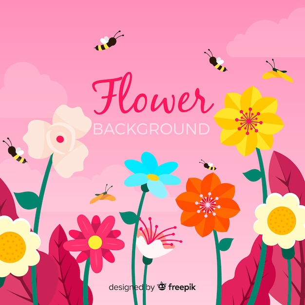 Flat floral background Free Vector