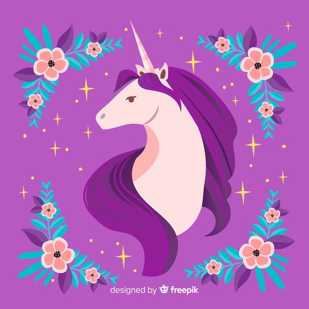 Flat floral cute unicorn background Free Vector