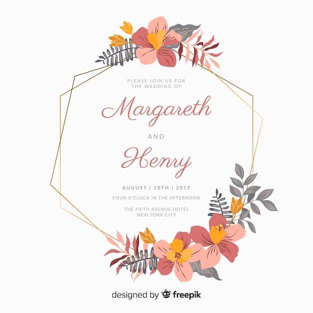 Flat floral frame wedding invitation Free Vector